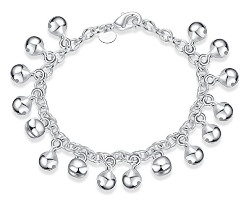 (Cutesmile Fashion Jewelry 925 Sterling Silver Bells Chain Adjustable Bracelet/Anklet for Women Girls)
