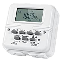 AstroAI Digital Dual Light Timer Outlet 7-Day Programmable Electrical Plug-In Switch, Heavy Duty with 2 Independently-Programmable 3-Prong Outlets, 15A/1875W (1 Pack)