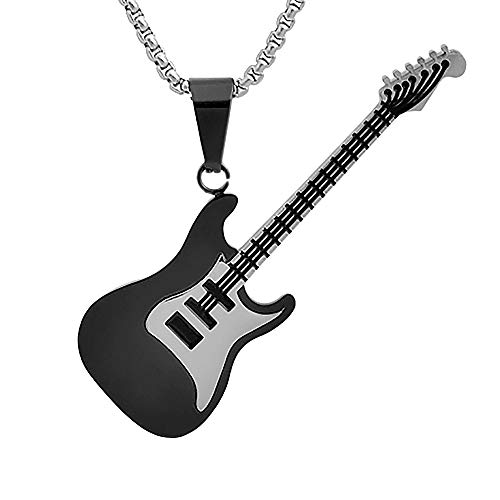 """Magna Steel Men's Stainless Steel Rock Electric Guitar Bass Pendant Necklace with 24"""" 3mm Box Chain, Black"""