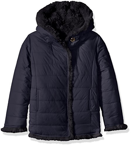 GUESS Big Girls' Reversible Eco Fur and Nylon Quilted Jacket, Ink Blue, (Reversible Kids Nylon Jacket)