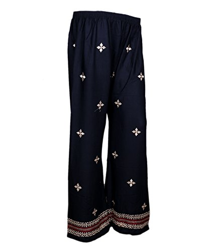 Indistar Black Rayon Embroidered Trendy and Stylish Pallazo Pant For Women_Size-Meduim_71954-MP-IW-M by Indistar