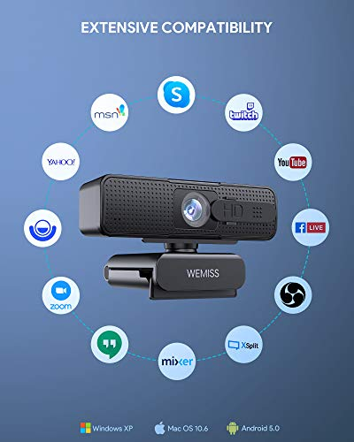 Webcam 1080P Full HD con Microfono, WEMISS Autofocus Webcam per PC con Correzione della Luce e Otturatore della Privacy VideoCamera per Video Chat Compatibile con Windows Mac e Android 6 spesavip