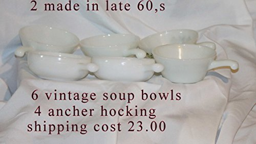 SET 2 Anchor Hocking Fire King White Milk Glass Chili Soup Cereal Bowls Cups (Anchor Milk Hocking)