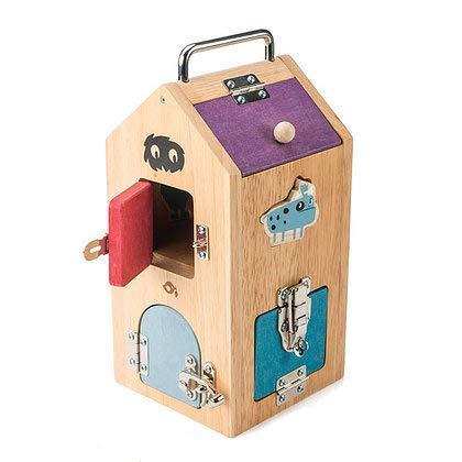Tender Leaf Toys Wooden Monster Lock Box - 8 Different Doors with Various Lock Mechanisms Helps Develop Probelm Solving Skills - 3 +