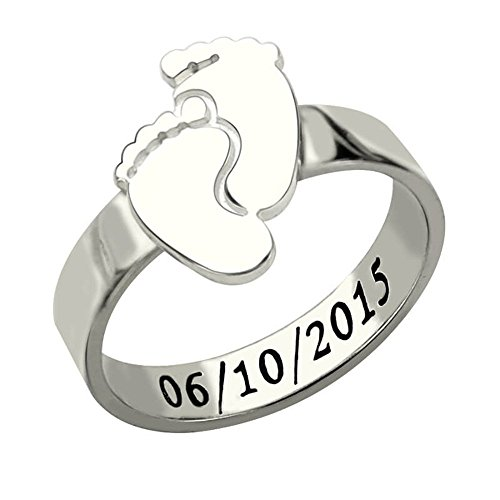 Necklaceforyou Personalized Baby Feet Ring Silver Engrave NameDate Ring Cute Baby Footprint New Mom Gift Mother's Ring