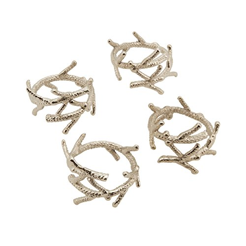 SARO LIFESTYLE 4-Piece Coral Branch Design Napkin Ring, Silver Coral Branch Napkin Rings
