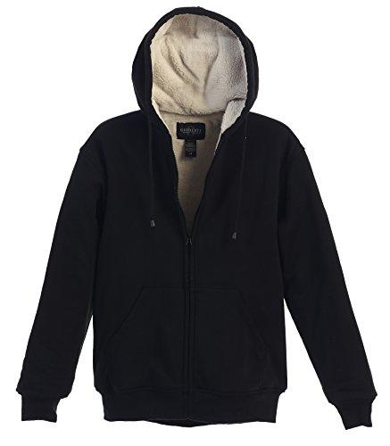 Gioberti Mens Sherpa Lined Pull Zip Fleece Hoodie Jacket, Olive, X Large