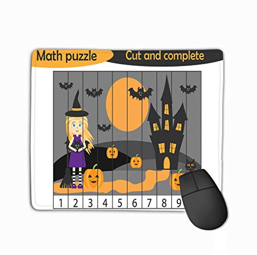 Non-Slip Thick Rubber Large Mousepad 11.81 X 9.84 Inch Math Puzzle Halloween Picture Witch Cartoon Style Education Game Development Preschool Children use Scissors cu Halftone -