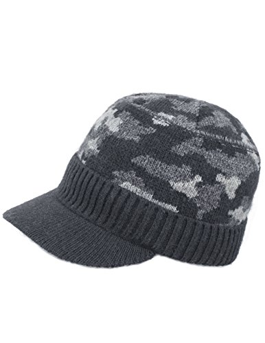 Dahlia Men's Soft & Warm Velour Lined Solid Color Visor Cap Hat - Camo Gray -