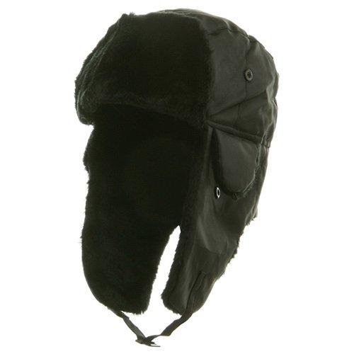 Polyester Pile Trim Trooper Hat - Black L-XL