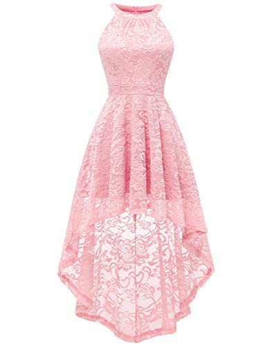 BeryLove Women's Halter Hi-Lo Floral Lace Cocktail Dress Sleeveless Bridesmaid Formal Swing Dress BLP7028Pink2XL