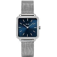 CLUSE La Garçonne Mesh Silver Marine Blue CL60011 Women's Watch 29mm Square Dial Steel Strap Minimalistic Design Casual Dress Japanese Quartz Elegant Timepiece