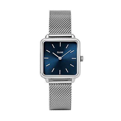 CLUSE LA TÉTRAGONE Mesh Silver Marine Blue CL60011 Women's Watch 29mm Square Dial Steel Strap Minimalistic Design Casual Dress Japanese Quartz Elegant Timepiece