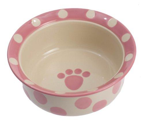 """Petrageous Designs Polka Paws 6"""" Deep Pet Bowl, Pink"""
