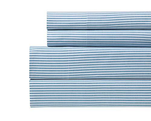 Westbury Manor Yarn Dyed Stripe 100% Cotton Duvet Sets -Full Queen Aqua