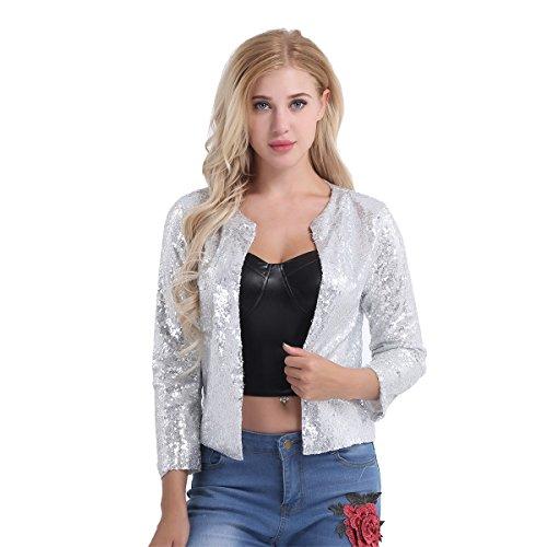 (ACSUSS Fashion Women's Shiny Sequin Long Sleeve Cropped Blazer Bolero Shrug Tops Silver Medium)