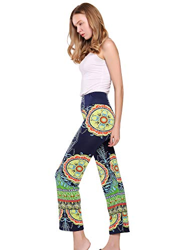 ACHICGIRL High Waist Vintage Bohemian Pattern Print Stretch Yoga Pants Leggings
