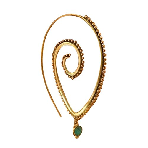 Dangle Wave (BSGSH Spiral Hoop Earrings Vintage Tribal Swirl Earrings For Women Threader Circles Round Earrings (Gold   C))