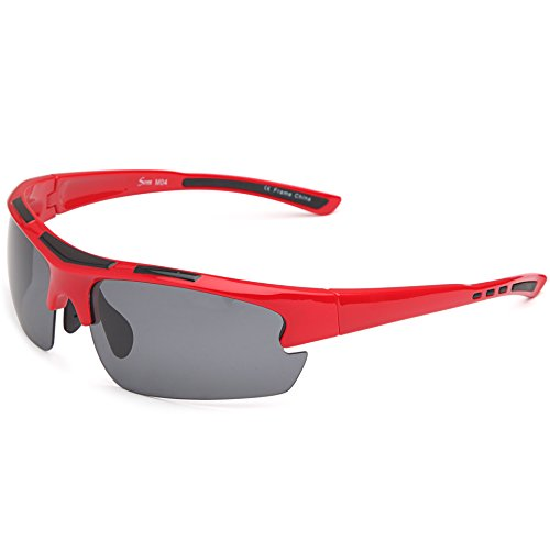 Siren Polarized Sports Sunglasses with TR90 Unbreakable Frame and Case - Grey Lens on Red Black - Frame And Black Red