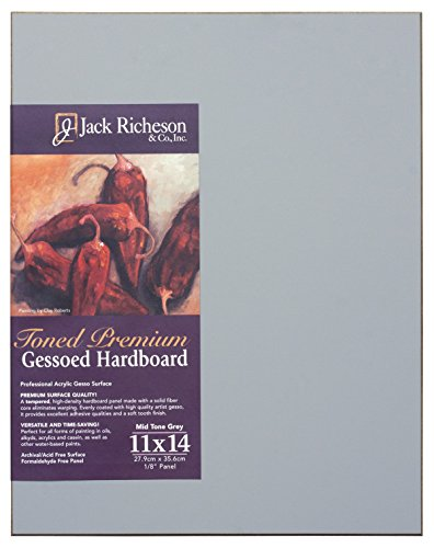 Jack Richeson 1611114 Richeson Mid-Tone Grey Toned Gessoed 1/8'' Hardboard 11''x14'' by Jack Richeson