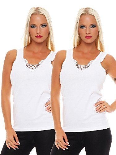 2 Pack Ladies underwear with lace (Sleeveless ladies Vest-Undershirt Camisole Top T Shirt) No. 430 ( White / White / Small )