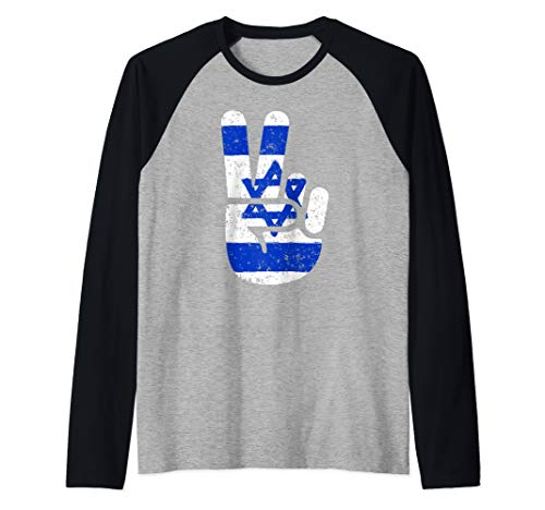 - Cool Israel Flag Big Peace Sign V Hand Symbol  Raglan Baseball Tee