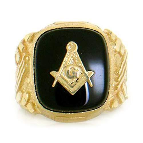 (14k Solid Yellow Gold Onyx Masonic Mens Ring Jewelry (Style# 1761) - Size 11)