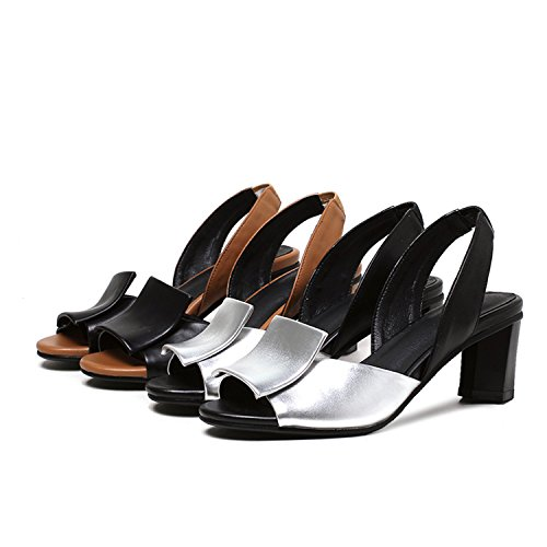 Heels Footwear 32 Silver 43 Colors Big Women Jeff Shoes Mixed Slingback Tribble Strap Thick Summer Size Sandals Back gaUTw6q