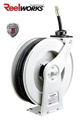 Reelworks Heavy Duty Spring Driven Hose Reel  1 2  X 50 Ft  Oil Hose Reel