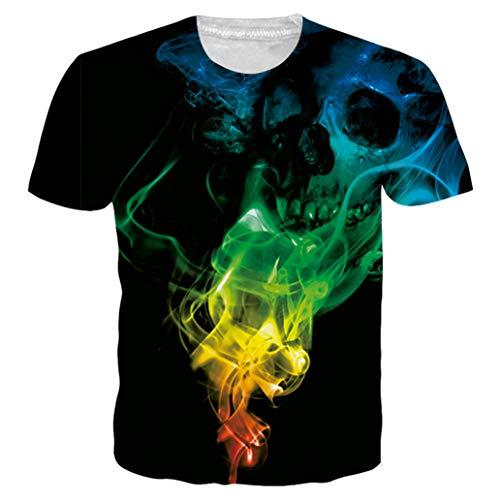Alistyle Unisex Halloween T-Shirts 3D Skull Printed Short Sleeve Shirts