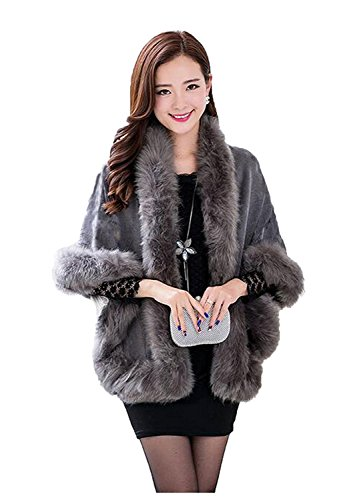 Kelaixiang Faux Fox Fur Shawls Jackets Plus Size Coats Wraps Winter Scarves (Grey)