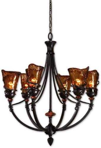 Uttermost 21227 Vitalia 6-Light Chandelier, Oil Rubbed Bronze Metal