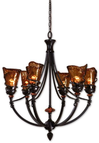 Uttermost 21227 Vitalia 6-Light Chandelier, Oil Rubbed Bronze Metal