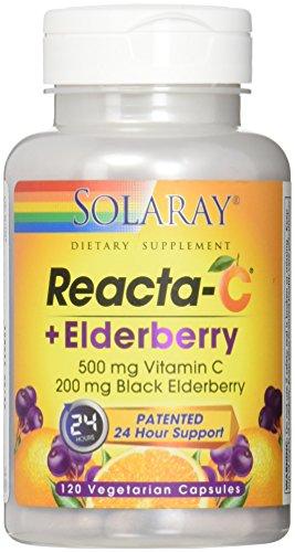 (Solaray Reacta-C + Elderberry 500 mg VCapsules, 120 Count)