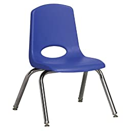 Plastic Classroom Chair [Set of 6] Seat Color: Blue, Seat Height: 12\
