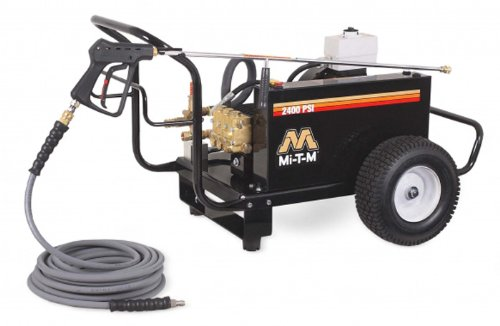 Mi-T-M CW-2405-4ME3 CW Premium Series Cold Water Electric Belt Drive, 8.0 HP Motor, 230V, 20A, 2400 PSI Pressure Washer