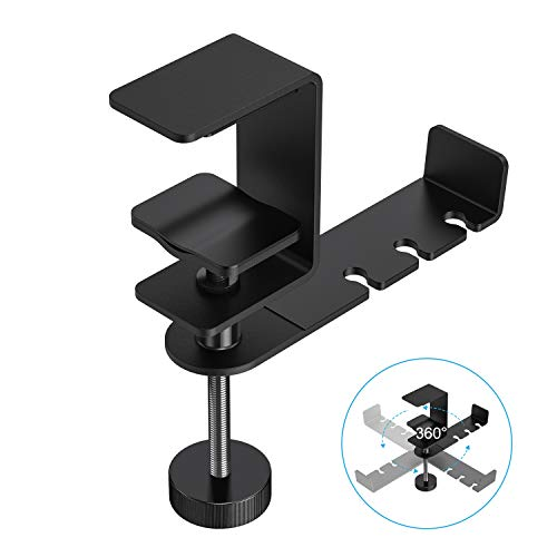 OMOTON Headphone Hanger - 360 Degree Rotation Universal Aluminum Headphone Adjustable Headset Stand Clamp Mount Desk Hook Holder Fits All Headphone Sizes