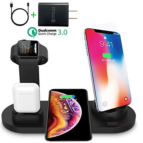 3 in 1 Wireless Charger Suitable for Apple Airpods Charger and Apple Watch Stand,Fast Wireless Charging Station for Multiple Devices Compatible with iPhone X/XR/Xs Max/8/7/6/Samsung,Include Adapter