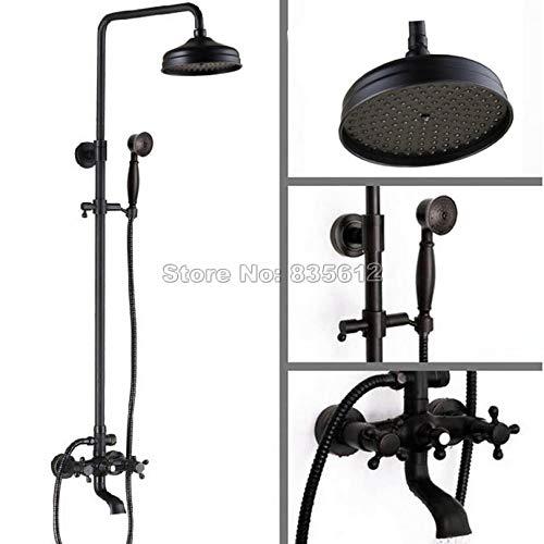 schwarz Wall Mounted schwarz Antique Brass 8 inch Shower Heads Rainfall Shower Faucet Set with Bathroom Clawfoot Bathtub Mixer Taps Whg040,schwarz