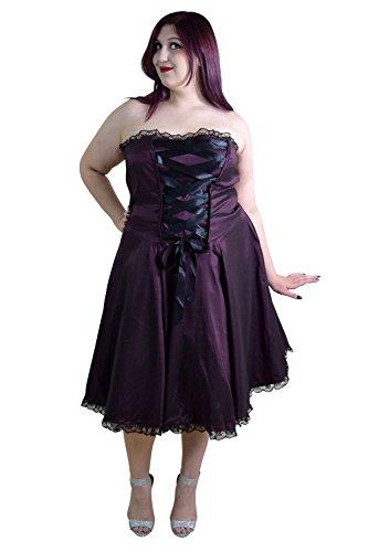 Skelapparel Plus Size Gothic Rockabilly Purple Satin Corset Lace-up Dress (28W)