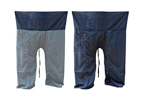 Blue Fisherman Pants Wrap Pants Yoga Trousers Free Size Cotton Drill