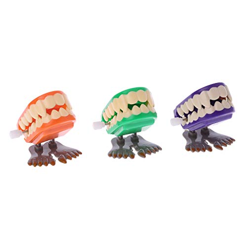 Raptor Halloween Prank (EA-STONE Novelty Toys,Clockwork Jumping Denture Educational Mechanical Toys Halloween Prank Decoration,Stress Reliever)