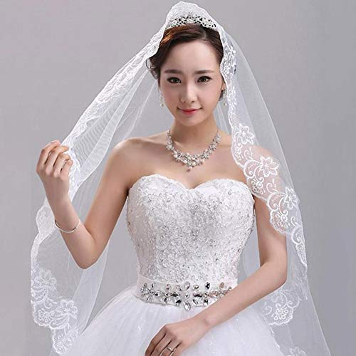 (Dds5391 Refined Elegant One Layer White Elbow Length Lace Edge Bridal Party Wedding Veil 4.9ft - White)