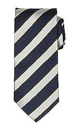Modlines All Silk Luxury Handmade Navy Stripe Tie
