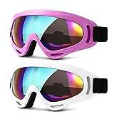 Best Goggles For Kids - HEETA 2-Pack Ski Goggles, Windproof Anti-Glare Snowboard Glasses Review