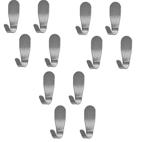 Rannb Small Size Stainless Steel Self-Adhesive Wall Hooks, Damage Free Nailless Light Duty Coat Robe Hook Single Towel Hook -Pack of 12(Small Size)