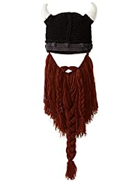Kafeimali Men's Head Barbarian Beanie Beard Hats Viking Horns Knit Caps