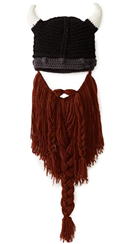 Kafeimali Men's Head Barbarian Vagabond Beanie Original Foldaway Beard Hats Halloween Viking Horns Bearded Caps (Brown)