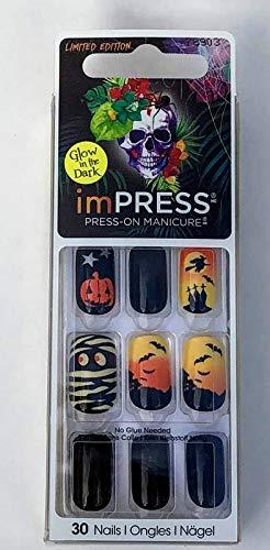 Orange Nail Designs For Halloween (imPress Press-On Manicure ~ Devilish ~ Glow in the Dark)