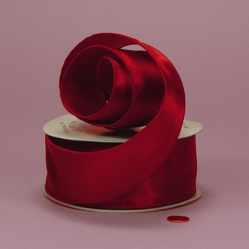 (Red Cast-Over Wired Satin Ribbon, 2-1/2
